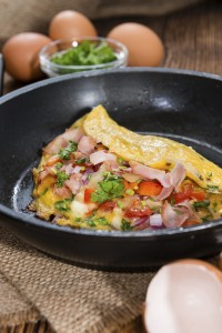 Omelette in a frypan (close-up shot)