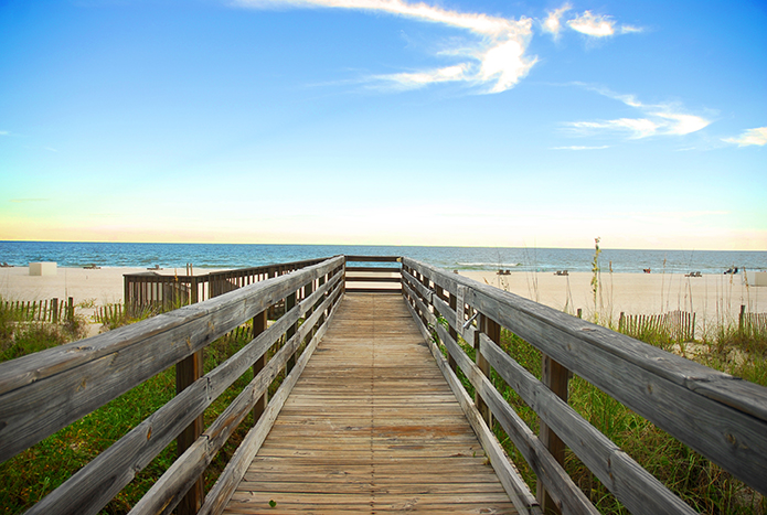 Board walk on the beach in Orange Beach, Alabama