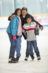 Families going public skating