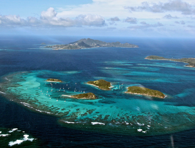 Beautiful shot I took from an airplane over the Grenadines.