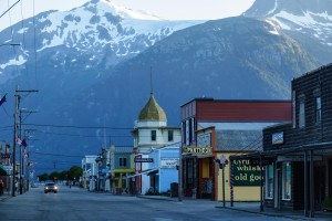 Skagway, Alaska, USA - July 17, 2016: Once a gateway for the Klondike Gold Rush in Canada, this popular tourist town can seem almost deserted on a summer evening without a large cruise ship in port.