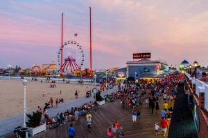 Crowded boardwalk in Ocean City, MD