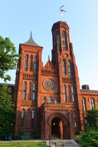 The front Victorian facade of the Smithsonian Castle in Washington, District of Columbia, USA