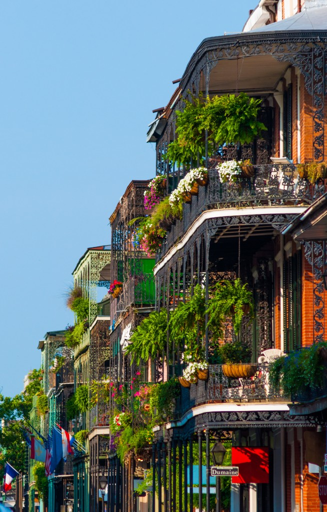 Buildings in New Orleans' French Quarter with ornate lush garden terraces.