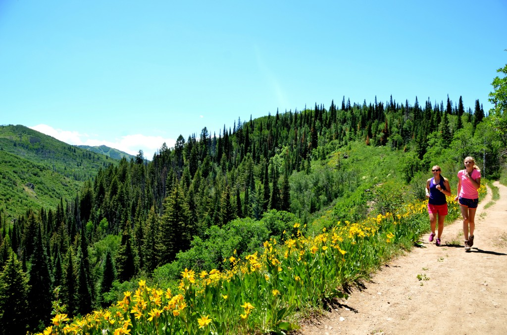 Jogging on a Trail in the Colorado Rocky Mountains